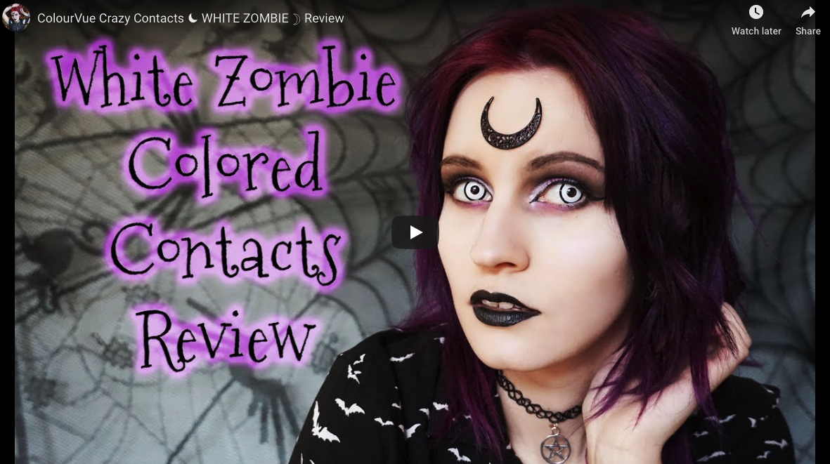 Video Review: ColourVue Crazy Contacts ☾ WHITE ZOMBIE ☽ Review