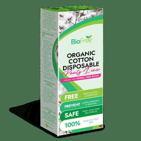 BioFree Organic Cotton Disposable Panty Liners (30 Pcs Ultra Thin) L 180mm